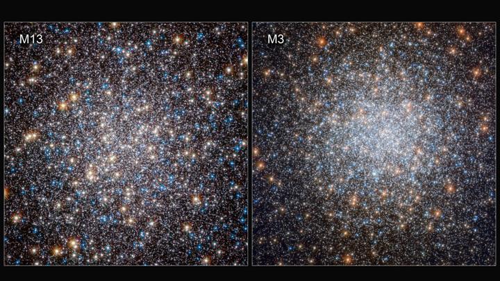 Шаровые звёздные скопления М3 и М13 во многом похожи, однако звёзды в них стареют по-разному.