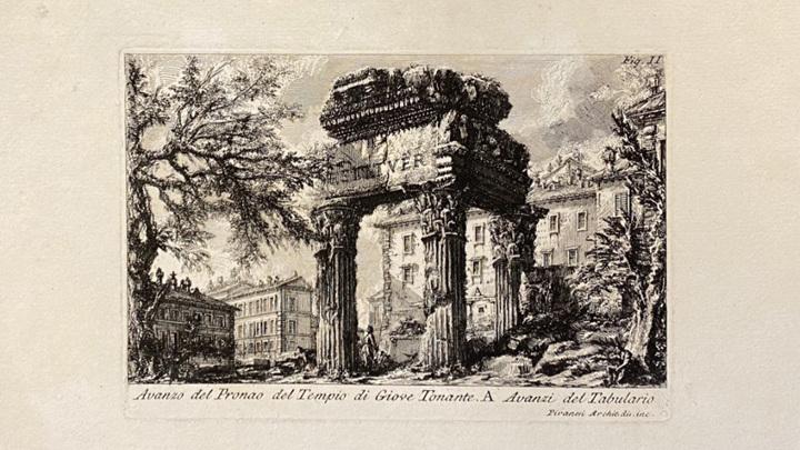 Пиранези. Руины портика храма Зевса. Гравюра. Главархив Москвы