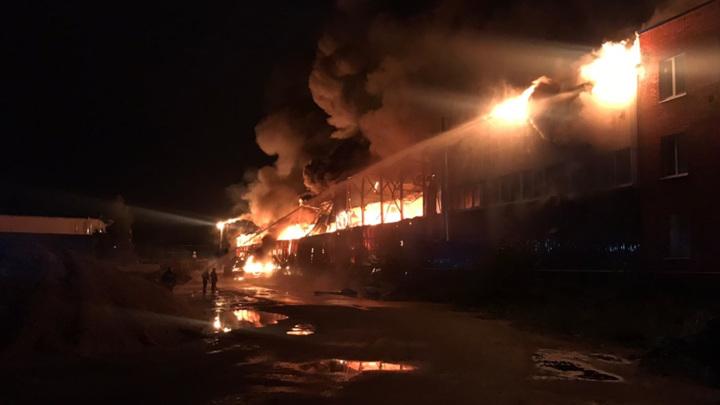 На подмосковном складе произошел крупный пожар