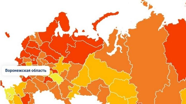 Воронежскую область нанесли на тепловую карту ковид-заболеваемости