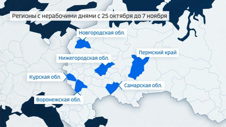 В восьми регионах России начались нерабочие дни из-за COVID-19